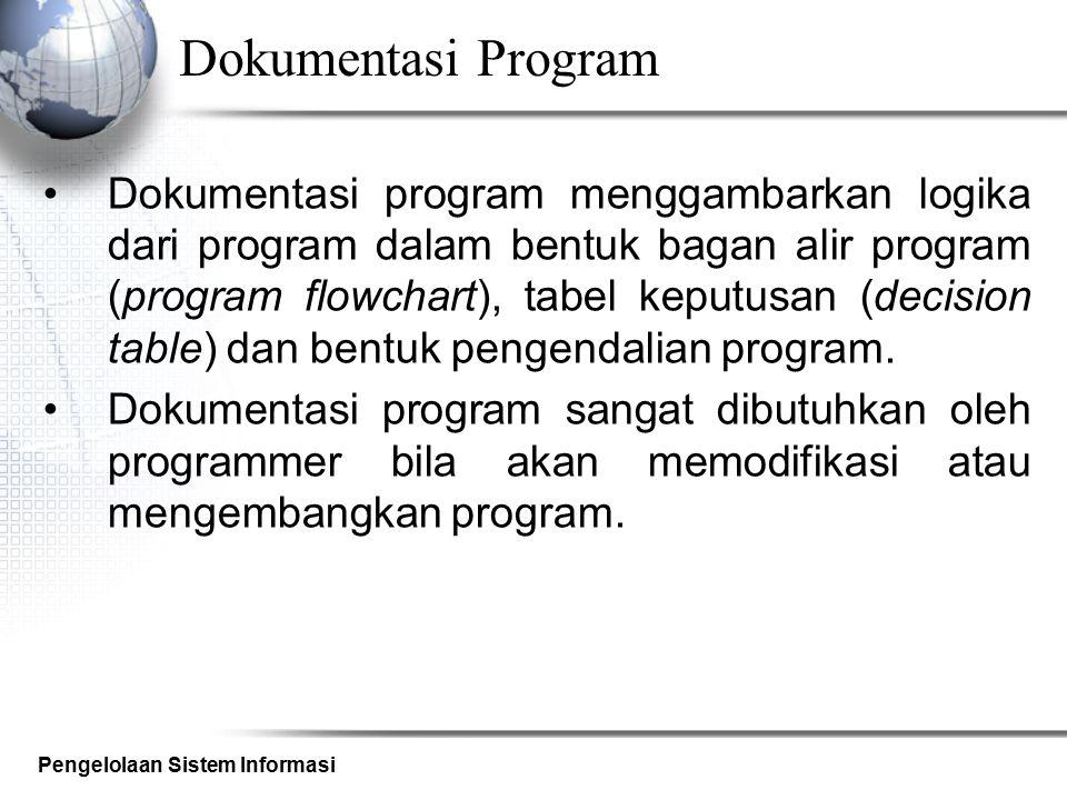 Pengelolaan Sistem Informasi Dokumentasi Program Dokumentasi program menggambarkan logika dari program dalam bentuk bagan alir program (program flowch