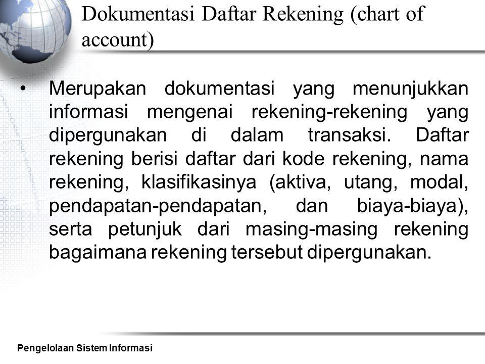 Pengelolaan Sistem Informasi Dokumentasi Daftar Rekening (chart of account) Merupakan dokumentasi yang menunjukkan informasi mengenai rekening-rekenin