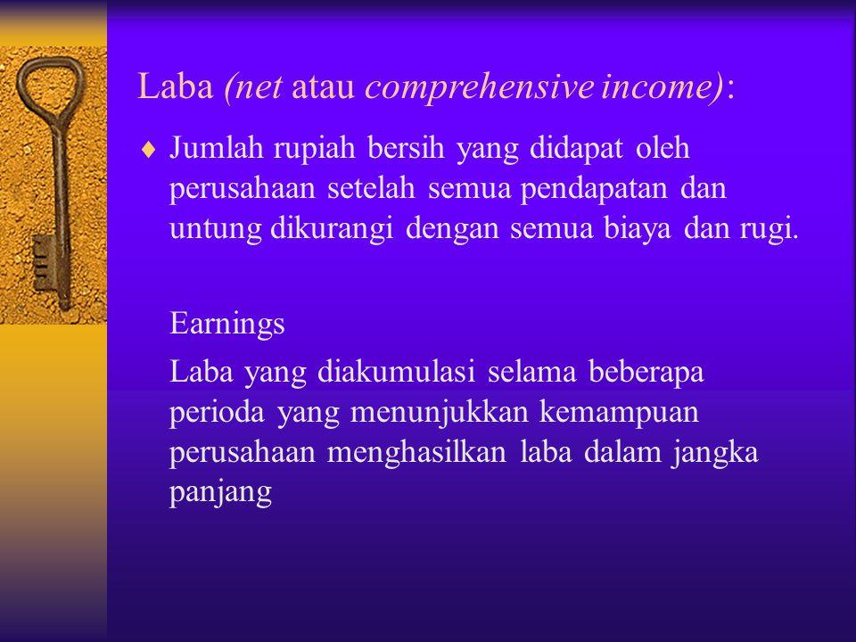 Laba (net atau comprehensive income):  Jumlah rupiah bersih yang didapat oleh perusahaan setelah semua pendapatan dan untung dikurangi dengan semua biaya dan rugi.