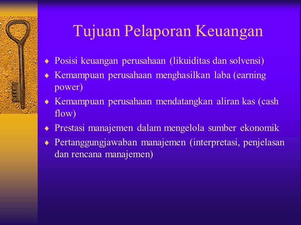 Tujuan Pelaporan Keuangan  Posisi keuangan perusahaan (likuiditas dan solvensi)  Kemampuan perusahaan menghasilkan laba (earning power)  Kemampuan