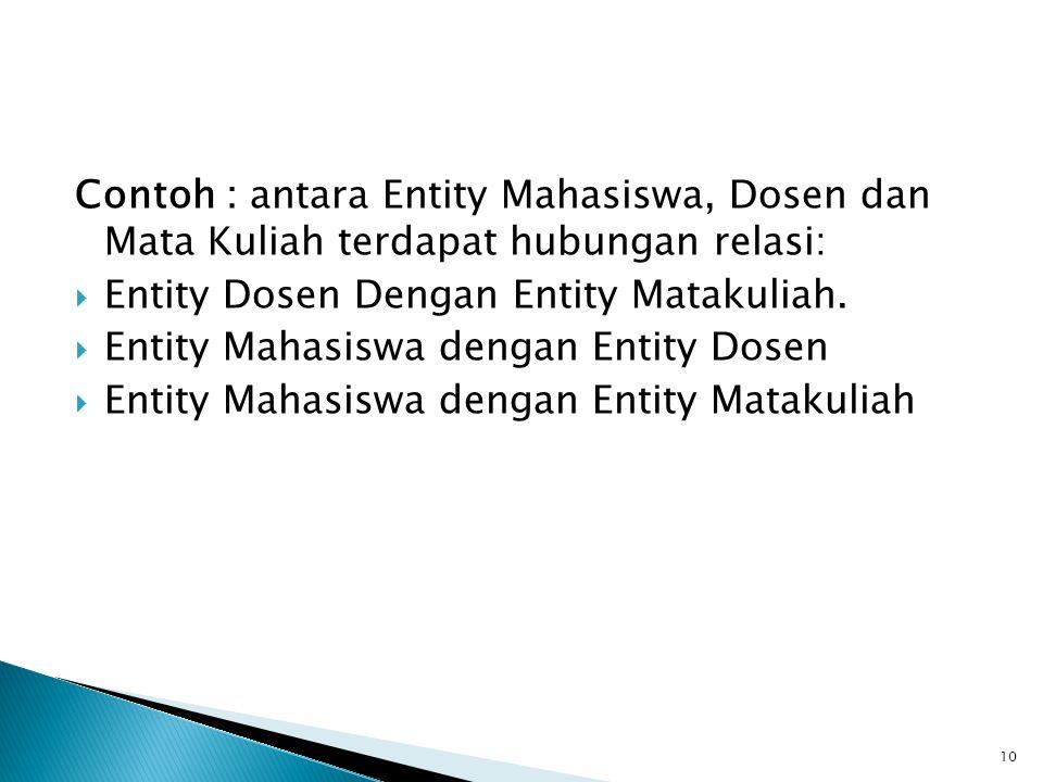 Contoh : antara Entity Mahasiswa, Dosen dan Mata Kuliah terdapat hubungan relasi:  Entity Dosen Dengan Entity Matakuliah.  Entity Mahasiswa dengan E