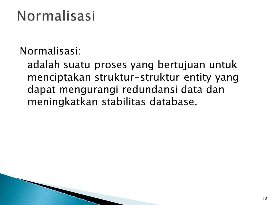 Normalisasi: adalah suatu proses yang bertujuan untuk menciptakan struktur-struktur entity yang dapat mengurangi redundansi data dan meningkatkan stab
