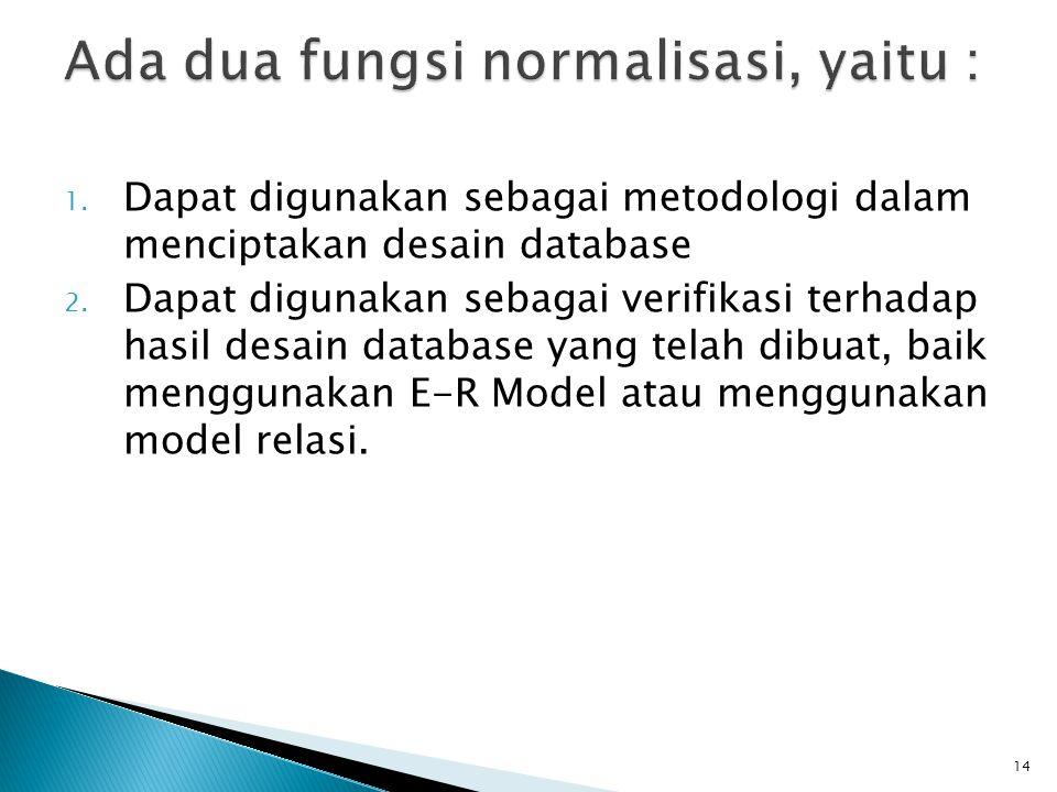 1. Dapat digunakan sebagai metodologi dalam menciptakan desain database 2. Dapat digunakan sebagai verifikasi terhadap hasil desain database yang tela