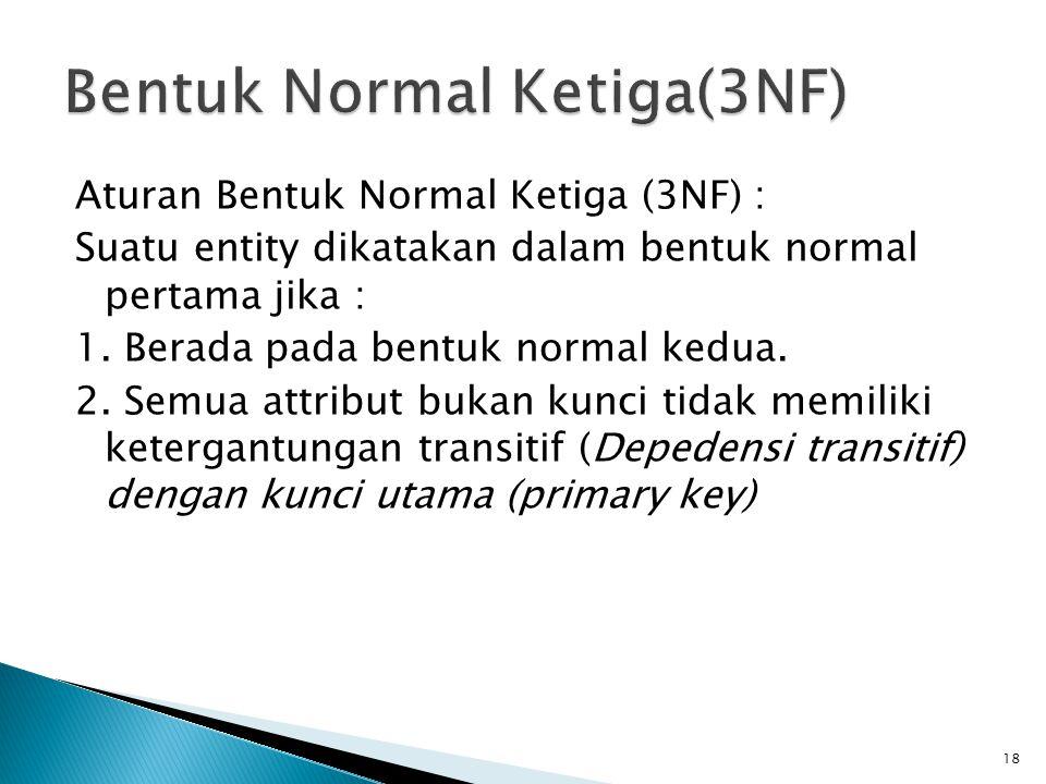 Aturan Bentuk Normal Ketiga (3NF) : Suatu entity dikatakan dalam bentuk normal pertama jika : 1. Berada pada bentuk normal kedua. 2. Semua attribut bu