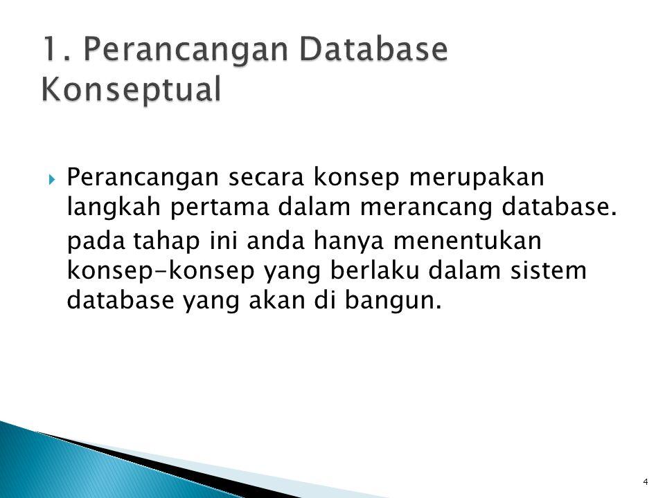  Perancangan secara konsep merupakan langkah pertama dalam merancang database. pada tahap ini anda hanya menentukan konsep-konsep yang berlaku dalam