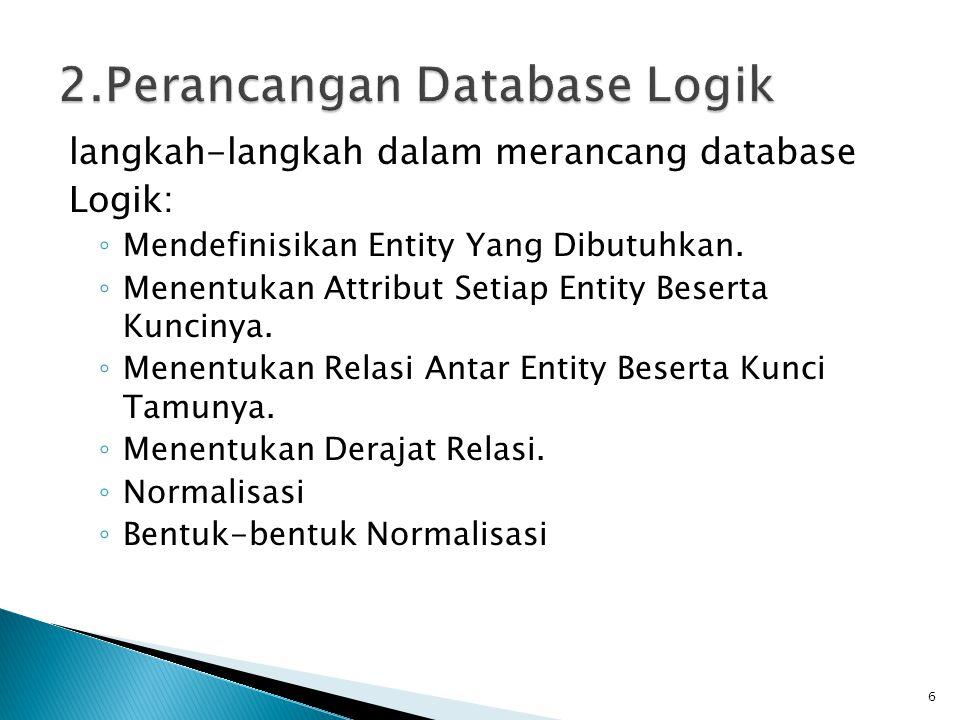langkah-langkah dalam merancang database Logik: ◦ Mendefinisikan Entity Yang Dibutuhkan. ◦ Menentukan Attribut Setiap Entity Beserta Kuncinya. ◦ Menen