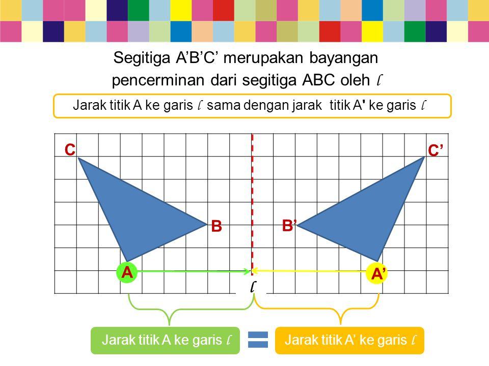 Segitiga A'B'C' merupakan bayangan pencerminan dari segitiga ABC oleh l B C C' B' A A' l Jarak titik A ke garis l sama dengan jarak titik A' ke garis