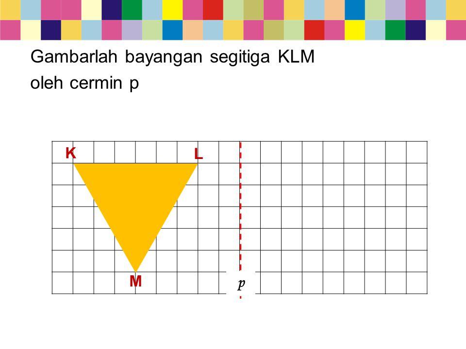 M p L K Gambarlah bayangan segitiga KLM oleh cermin p