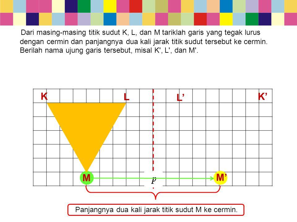 M p L L' K K' Panjangnya dua kali jarak titik sudut M ke cermin. M' Dari masing-masing titik sudut K, L, dan M tariklah garis yang tegak lurus dengan