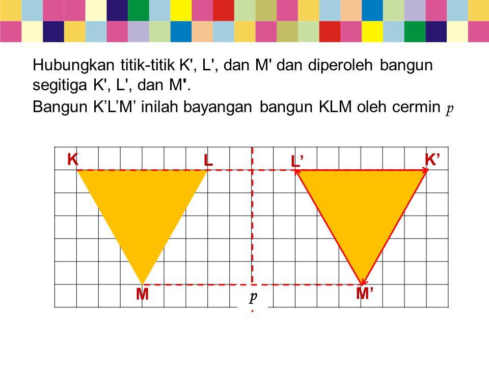 M p L L' K K' M' Hubungkan titik-titik K', L', dan M' dan diperoleh bangun segitiga K', L', dan M'. Bangun K'L'M' inilah bayangan bangun KLM oleh cerm