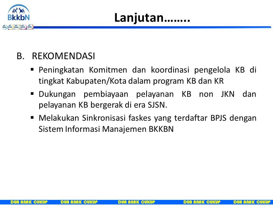 DUA ANAK CUKUP G.KESIMPULAN dan REKOMENDASI A. KESIMPULAN  Masih rendahnya Komitmen dan koordinasi pengelola KB di tingkat Kabupaten/Kota dalam progr