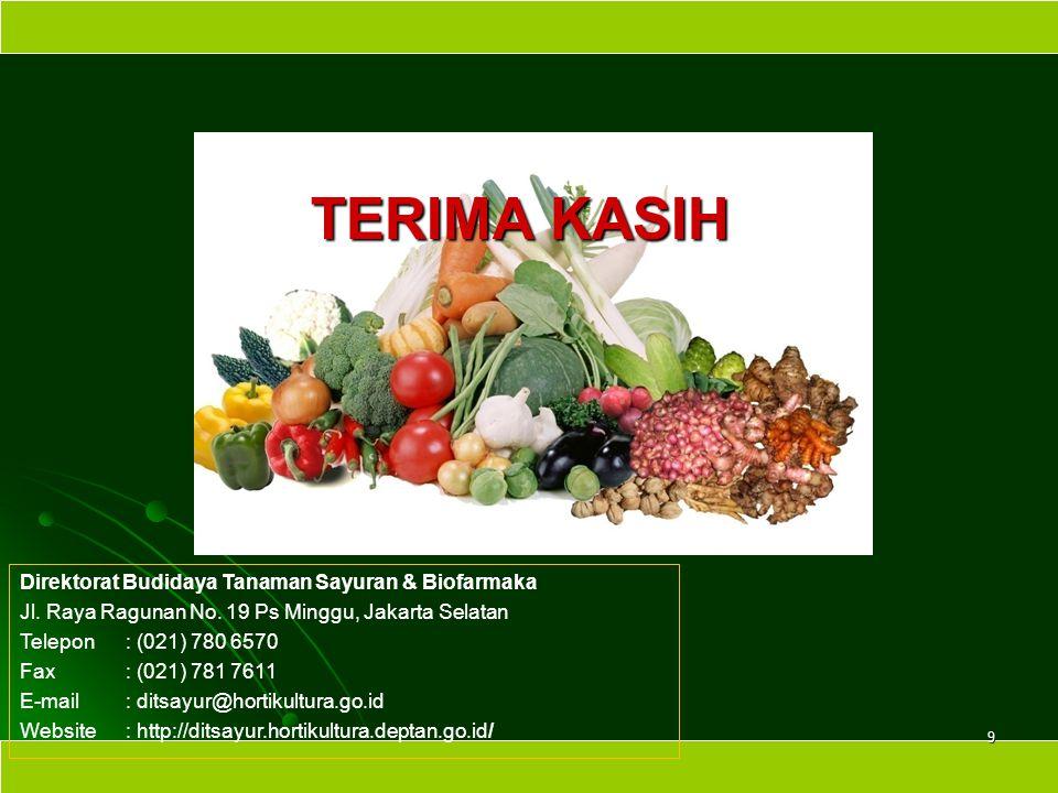 Direktorat Budidaya Tanaman Sayuran & Biofarmaka Jl. Raya Ragunan No. 19 Ps Minggu, Jakarta Selatan Telepon: (021) 780 6570 Fax: (021) 781 7611 E-mail