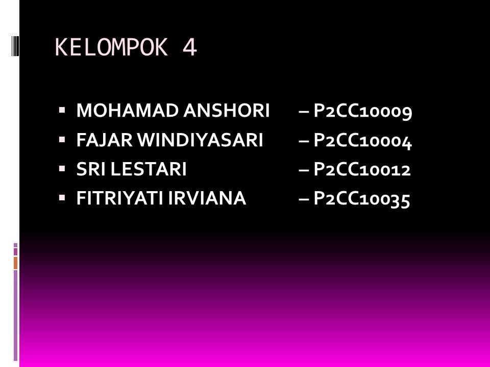 KELOMPOK 4  MOHAMAD ANSHORI– P2CC10009  FAJAR WINDIYASARI– P2CC10004  SRI LESTARI– P2CC10012  FITRIYATI IRVIANA – P2CC10035