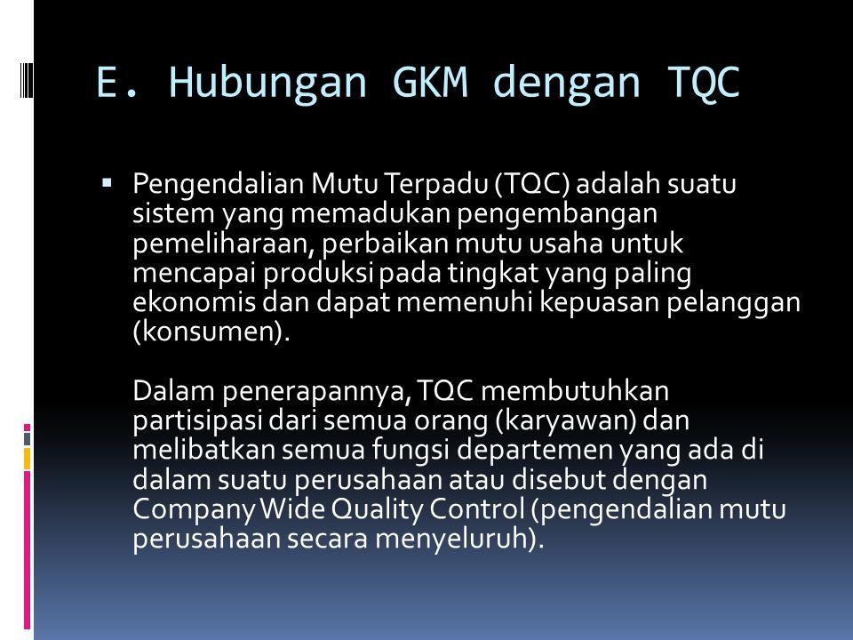 E. Hubungan GKM dengan TQC  Pengendalian Mutu Terpadu (TQC) adalah suatu sistem yang memadukan pengembangan pemeliharaan, perbaikan mutu usaha untuk