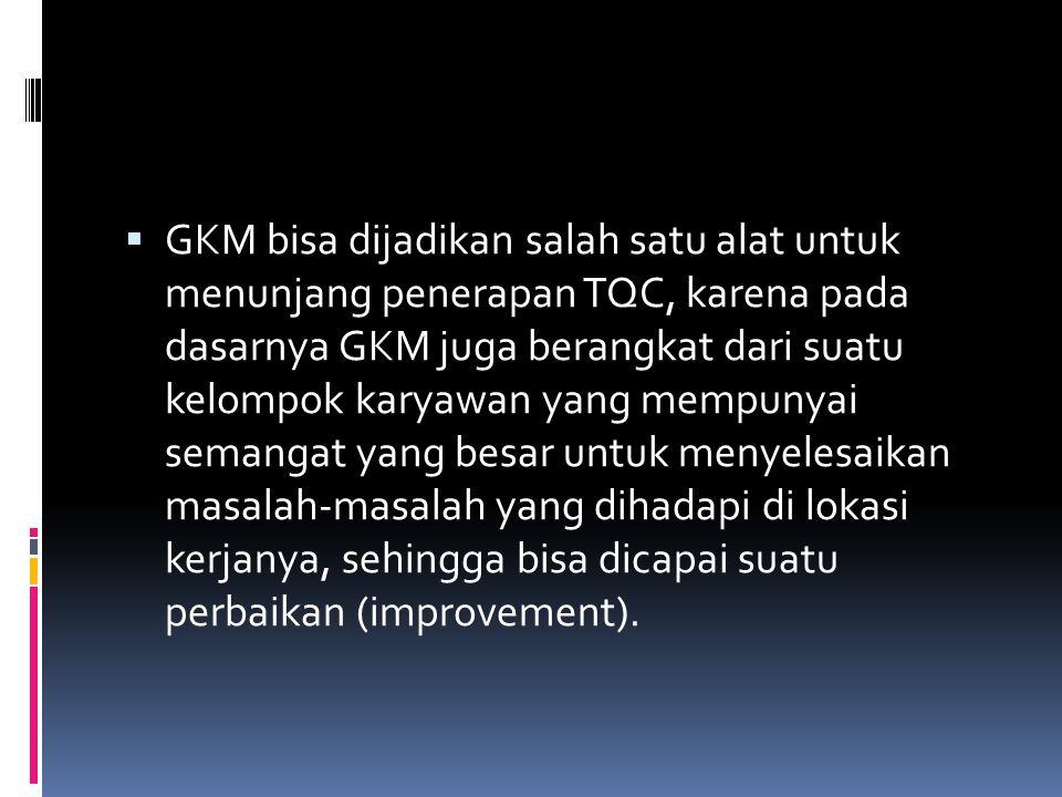  GKM bisa dijadikan salah satu alat untuk menunjang penerapan TQC, karena pada dasarnya GKM juga berangkat dari suatu kelompok karyawan yang mempunya