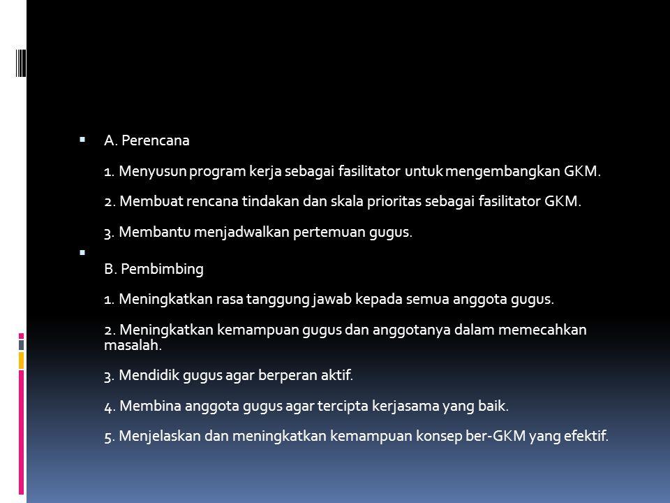  A. Perencana 1. Menyusun program kerja sebagai fasilitator untuk mengembangkan GKM. 2. Membuat rencana tindakan dan skala prioritas sebagai fasilita