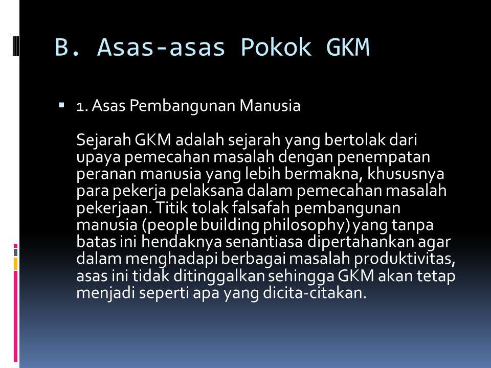 B. Asas-asas Pokok GKM  1. Asas Pembangunan Manusia Sejarah GKM adalah sejarah yang bertolak dari upaya pemecahan masalah dengan penempatan peranan m