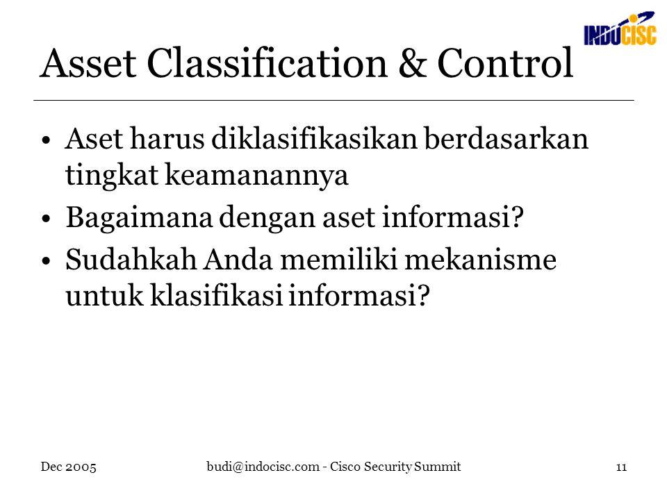 Dec 2005budi@indocisc.com - Cisco Security Summit11 Asset Classification & Control Aset harus diklasifikasikan berdasarkan tingkat keamanannya Bagaimana dengan aset informasi.