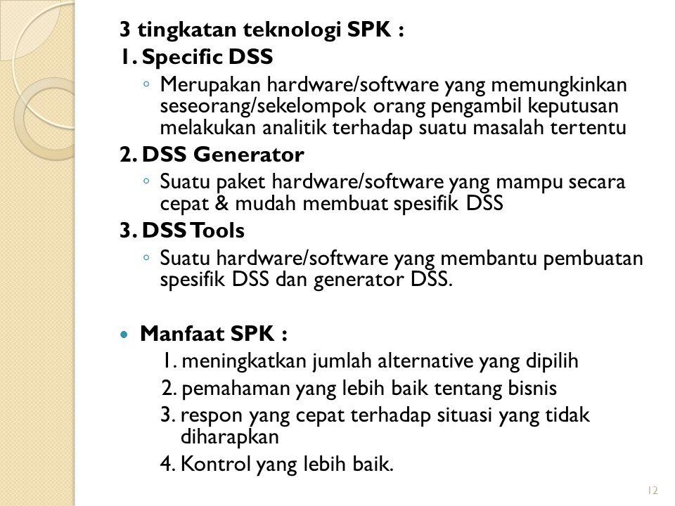 3 tingkatan teknologi SPK : 1. Specific DSS ◦ Merupakan hardware/software yang memungkinkan seseorang/sekelompok orang pengambil keputusan melakukan a
