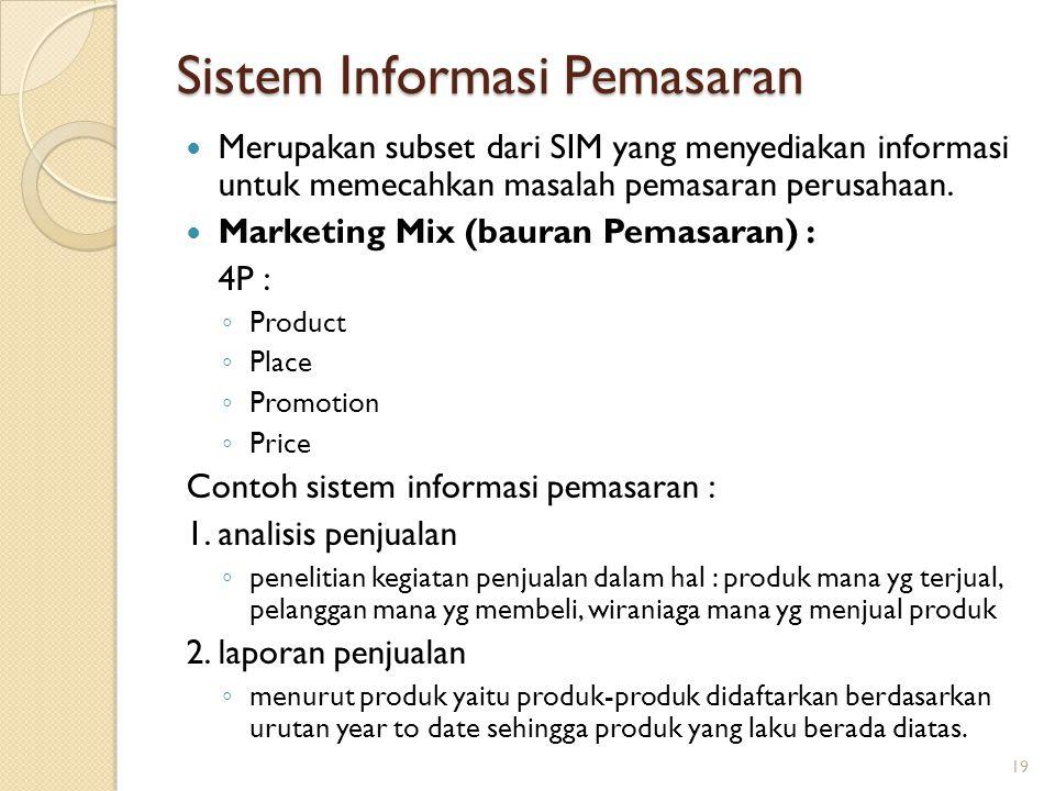 Sistem Informasi Pemasaran Merupakan subset dari SIM yang menyediakan informasi untuk memecahkan masalah pemasaran perusahaan. Marketing Mix (bauran P
