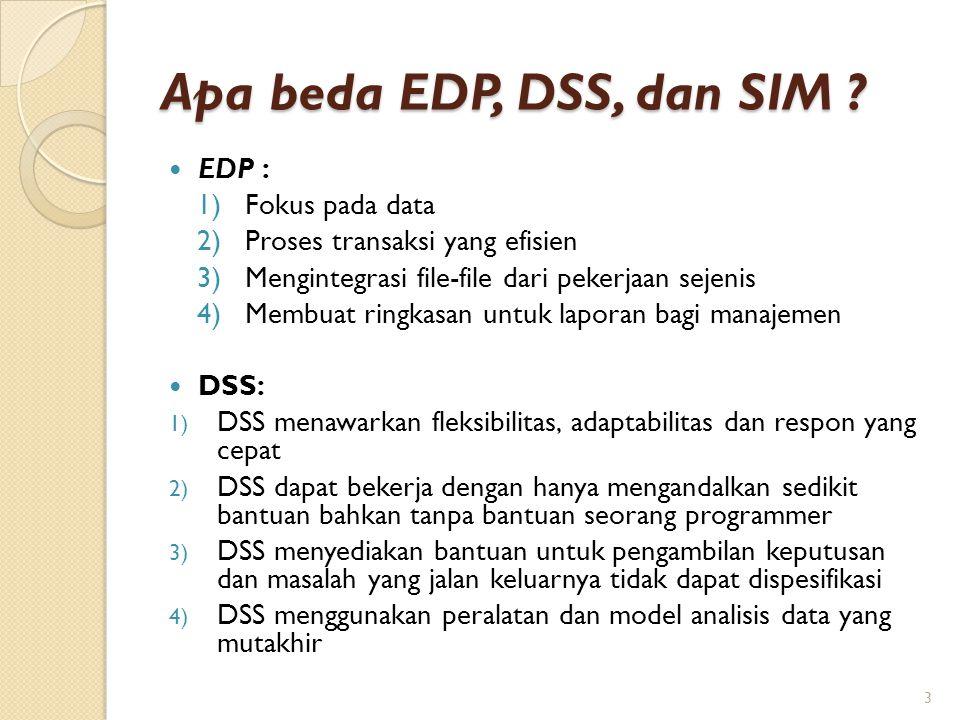 Apa beda EDP, DSS, dan SIM ? EDP : 1)Fokus pada data 2)Proses transaksi yang efisien 3)Mengintegrasi file-file dari pekerjaan sejenis 4)Membuat ringka