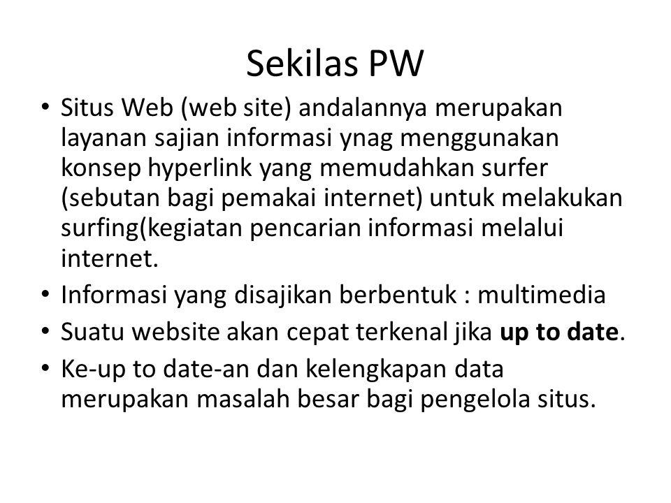 Situs Web (web site) andalannya merupakan layanan sajian informasi ynag menggunakan konsep hyperlink yang memudahkan surfer (sebutan bagi pemakai internet) untuk melakukan surfing(kegiatan pencarian informasi melalui internet.