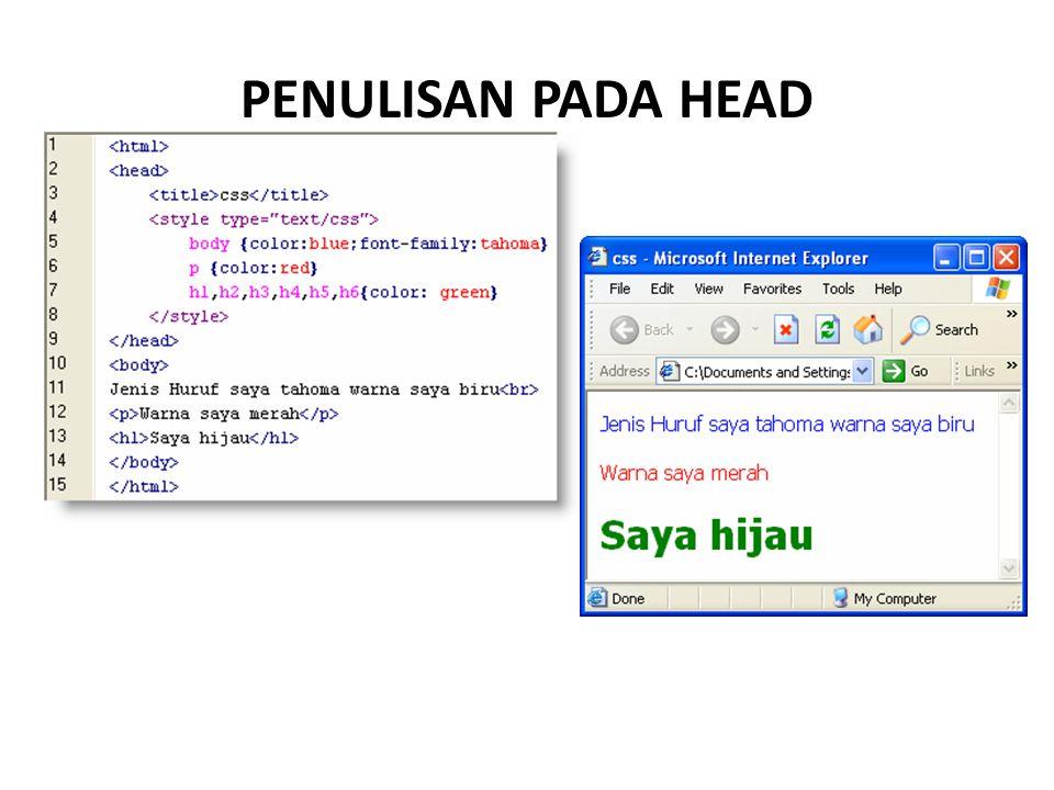 PENULISAN PADA HEAD