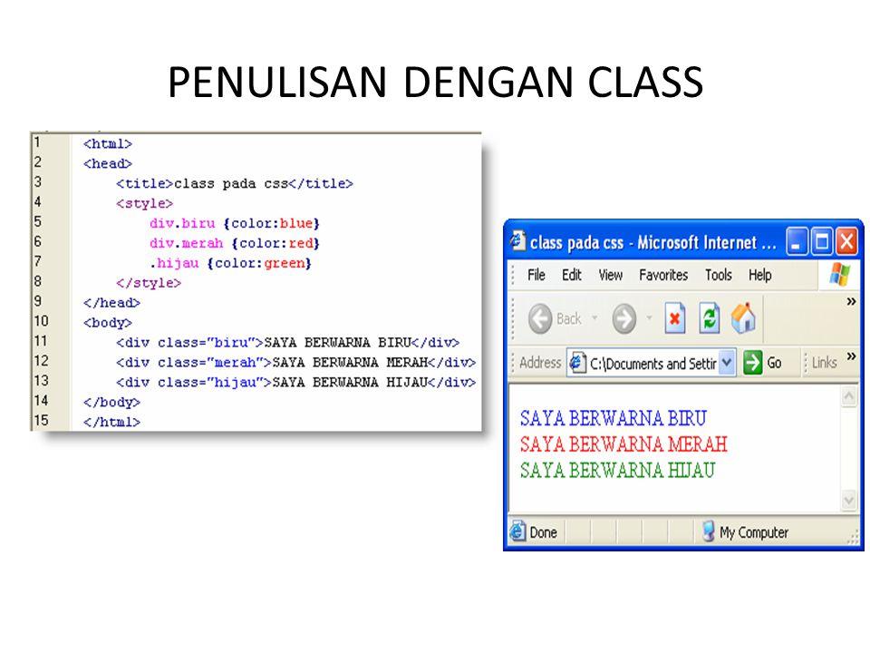 PENULISAN DENGAN CLASS