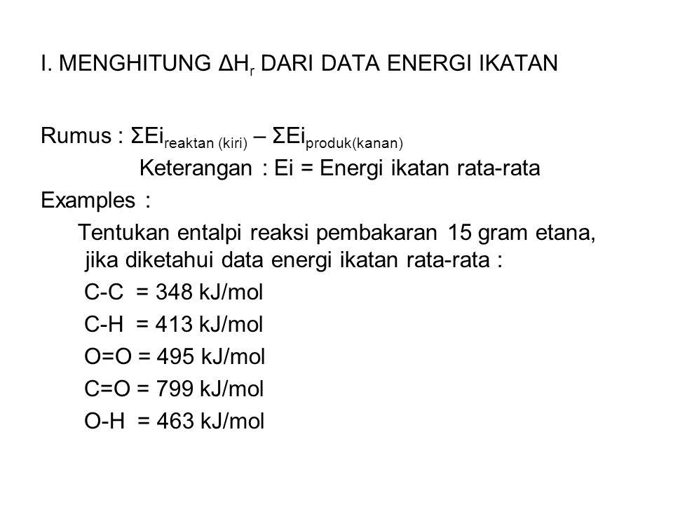 I. MENGHITUNG ΔH r DARI DATA ENERGI IKATAN Rumus : ΣEi reaktan (kiri) – ΣEi produk(kanan) Keterangan : Ei = Energi ikatan rata-rata Examples : Tentuka