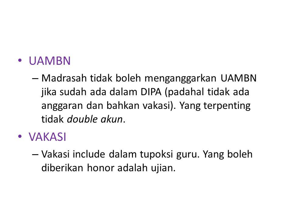 UAMBN – Madrasah tidak boleh menganggarkan UAMBN jika sudah ada dalam DIPA (padahal tidak ada anggaran dan bahkan vakasi).