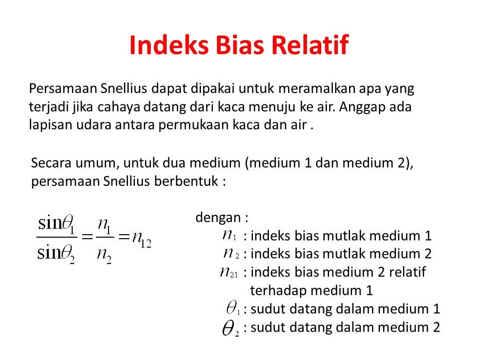 Indeks Bias Relatif Persamaan Snellius dapat dipakai untuk meramalkan apa yang terjadi jika cahaya datang dari kaca menuju ke air.