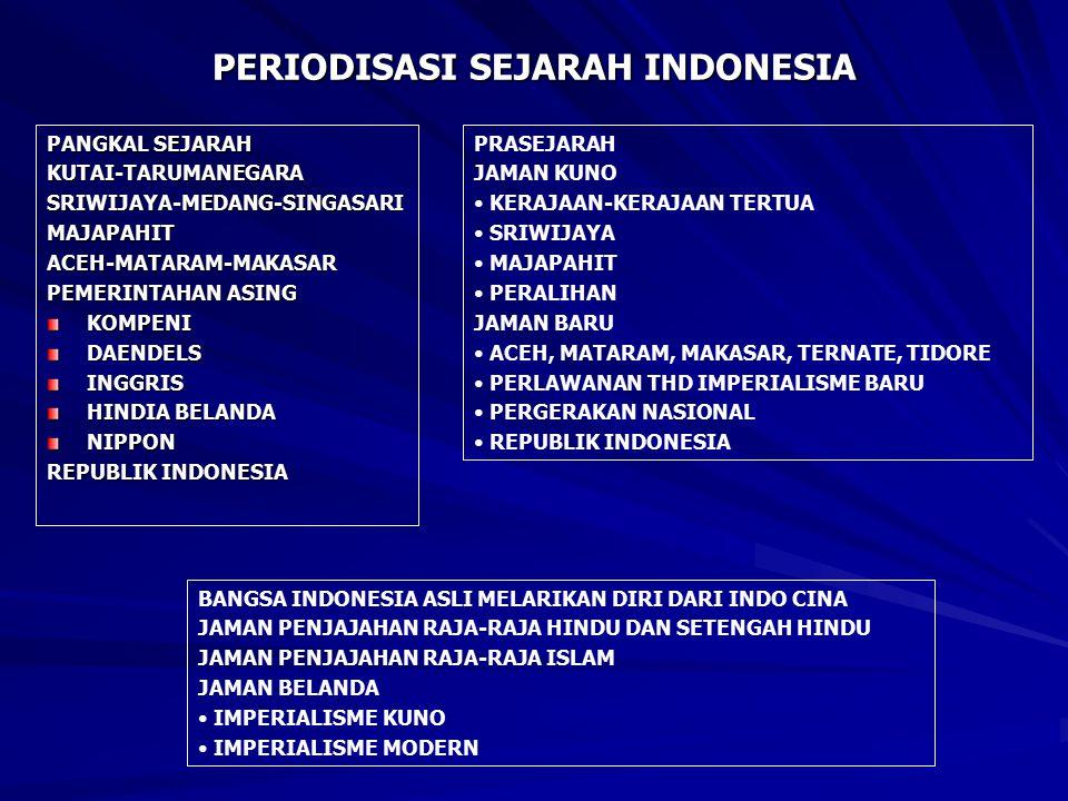 PERIODISASI SEJARAH INDONESIA PANGKAL SEJARAH KUTAI-TARUMANEGARASRIWIJAYA-MEDANG-SINGASARIMAJAPAHITACEH-MATARAM-MAKASAR PEMERINTAHAN ASING KOMPENIDAENDELSINGGRIS HINDIA BELANDA NIPPON REPUBLIK INDONESIA PRASEJARAH JAMAN KUNO KERAJAAN-KERAJAAN TERTUA SRIWIJAYA MAJAPAHIT PERALIHAN JAMAN BARU ACEH, MATARAM, MAKASAR, TERNATE, TIDORE PERLAWANAN THD IMPERIALISME BARU PERGERAKAN NASIONAL REPUBLIK INDONESIA BANGSA INDONESIA ASLI MELARIKAN DIRI DARI INDO CINA JAMAN PENJAJAHAN RAJA-RAJA HINDU DAN SETENGAH HINDU JAMAN PENJAJAHAN RAJA-RAJA ISLAM JAMAN BELANDA IMPERIALISME KUNO IMPERIALISME MODERN