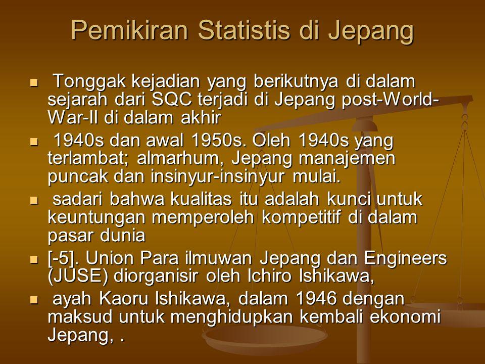Pemikiran Statistis di Jepang Tonggak kejadian yang berikutnya di dalam sejarah dari SQC terjadi di Jepang post-World- War-II di dalam akhir Tonggak k