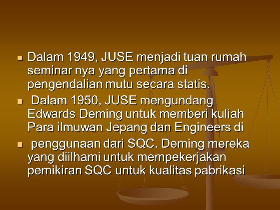 Dalam 1949, JUSE menjadi tuan rumah seminar nya yang pertama di pengendalian mutu secara statis. Dalam 1949, JUSE menjadi tuan rumah seminar nya yang
