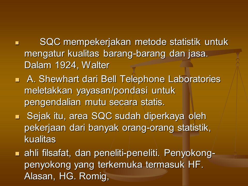 SQC mempekerjakan metode statistik untuk mengatur kualitas barang-barang dan jasa. Dalam 1924, Walter SQC mempekerjakan metode statistik untuk mengatu