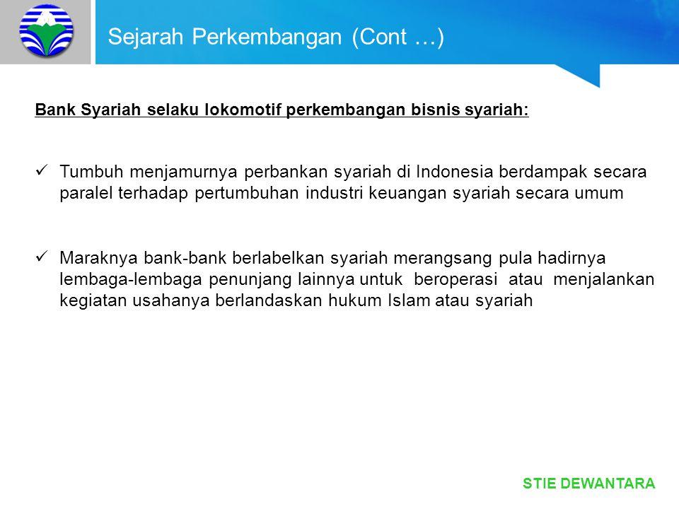 STIE DEWANTARA Sejarah Perkembangan (Cont …) Bank Syariah selaku lokomotif perkembangan bisnis syariah: Tumbuh menjamurnya perbankan syariah di Indone