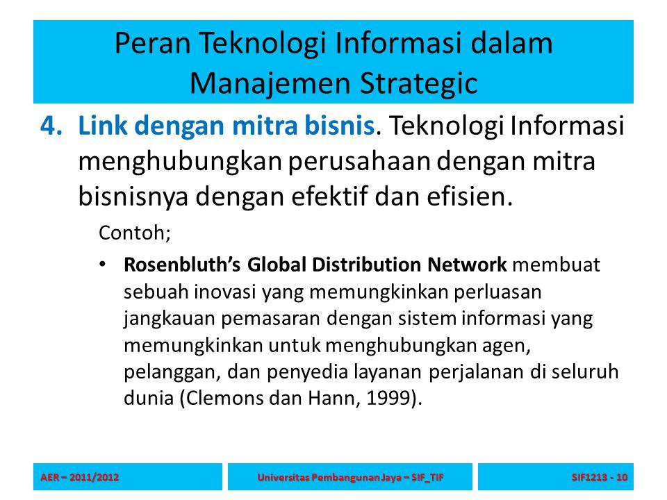 Peran Teknologi Informasi dalam Manajemen Strategic 4.Link dengan mitra bisnis. Teknologi Informasi menghubungkan perusahaan dengan mitra bisnisnya de