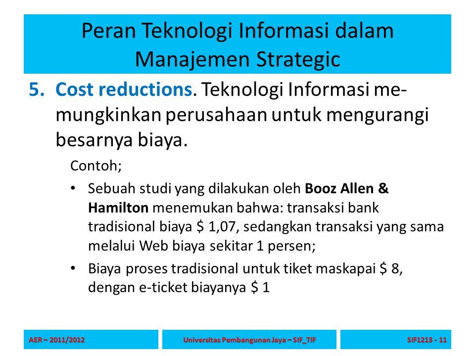 Peran Teknologi Informasi dalam Manajemen Strategic 5.Cost reductions. Teknologi Informasi me- mungkinkan perusahaan untuk mengurangi besarnya biaya.