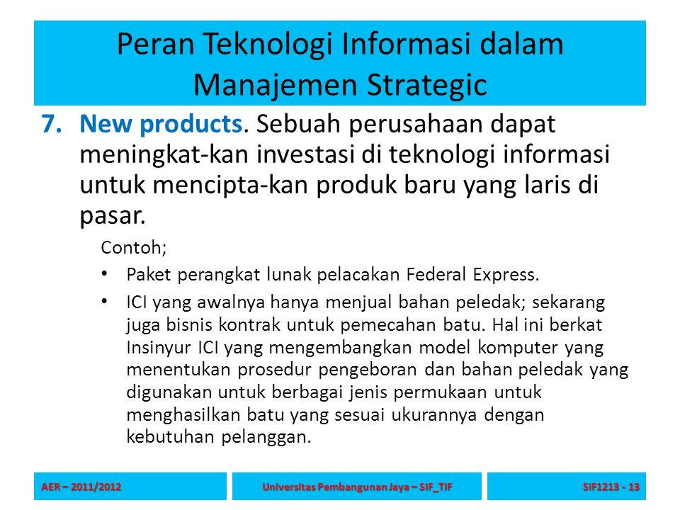 Peran Teknologi Informasi dalam Manajemen Strategic 7.New products. Sebuah perusahaan dapat meningkat-kan investasi di teknologi informasi untuk menci