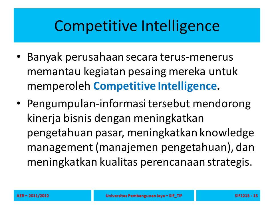 Competitive Intelligence Banyak perusahaan secara terus-menerus memantau kegiatan pesaing mereka untuk memperoleh Competitive Intelligence. Pengumpula