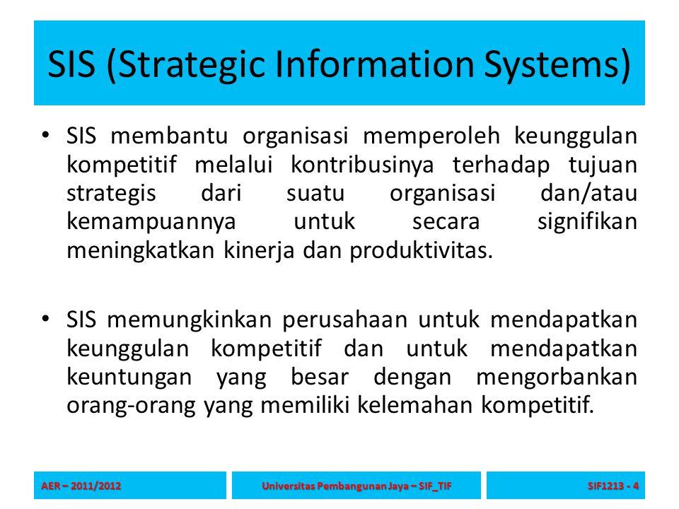 SIS (Strategic Information Systems) SIS membantu organisasi memperoleh keunggulan kompetitif melalui kontribusinya terhadap tujuan strategis dari suat