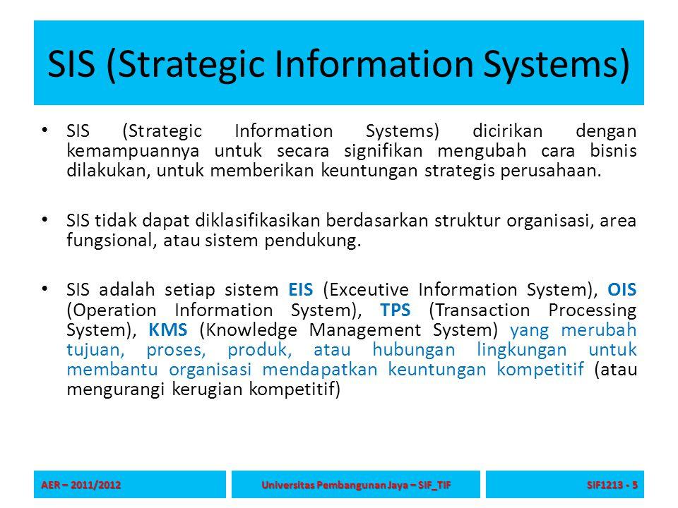 SIS (Strategic Information Systems) SIS (Strategic Information Systems) dicirikan dengan kemampuannya untuk secara signifikan mengubah cara bisnis dil