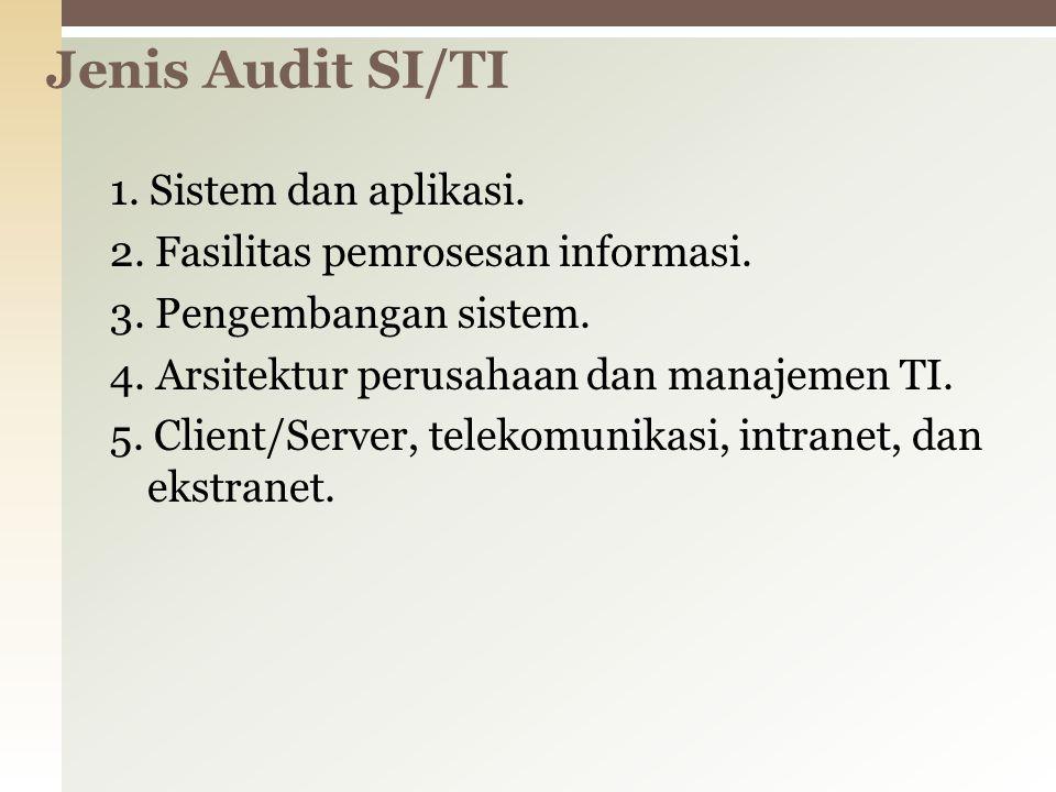 1. Sistem dan aplikasi. 2. Fasilitas pemrosesan informasi. 3. Pengembangan sistem. 4. Arsitektur perusahaan dan manajemen TI. 5. Client/Server, teleko