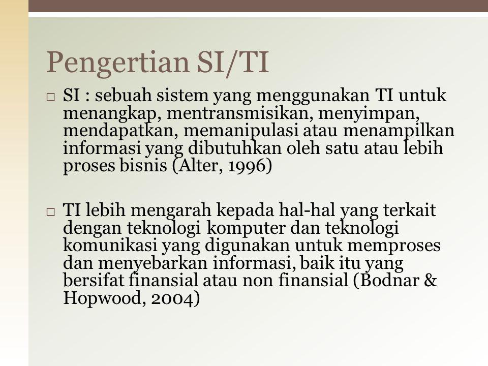  SI : sebuah sistem yang menggunakan TI untuk menangkap, mentransmisikan, menyimpan, mendapatkan, memanipulasi atau menampilkan informasi yang dibutu