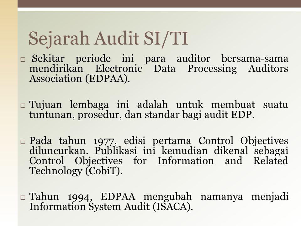  Sekitar periode ini para auditor bersama-sama mendirikan Electronic Data Processing Auditors Association (EDPAA).  Tujuan lembaga ini adalah untuk