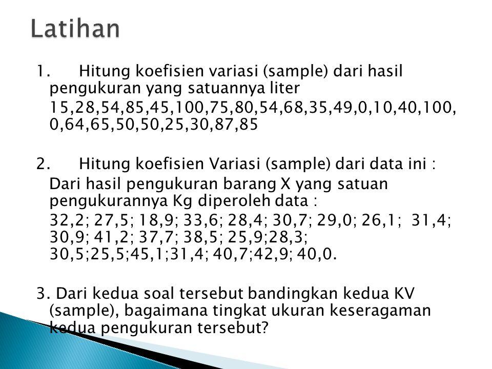 1. Hitung koefisien variasi (sample) dari hasil pengukuran yang satuannya liter 15,28,54,85,45,100,75,80,54,68,35,49,0,10,40,100, 0,64,65,50,50,25,30,