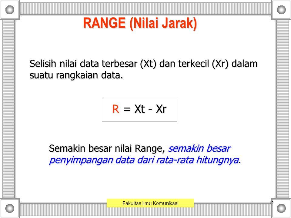 12 RANGE (Nilai Jarak) Selisih nilai data terbesar (Xt) dan terkecil (Xr) dalam suatu rangkaian data. R = Xt - Xr Semakin besar nilai Range, semakin b