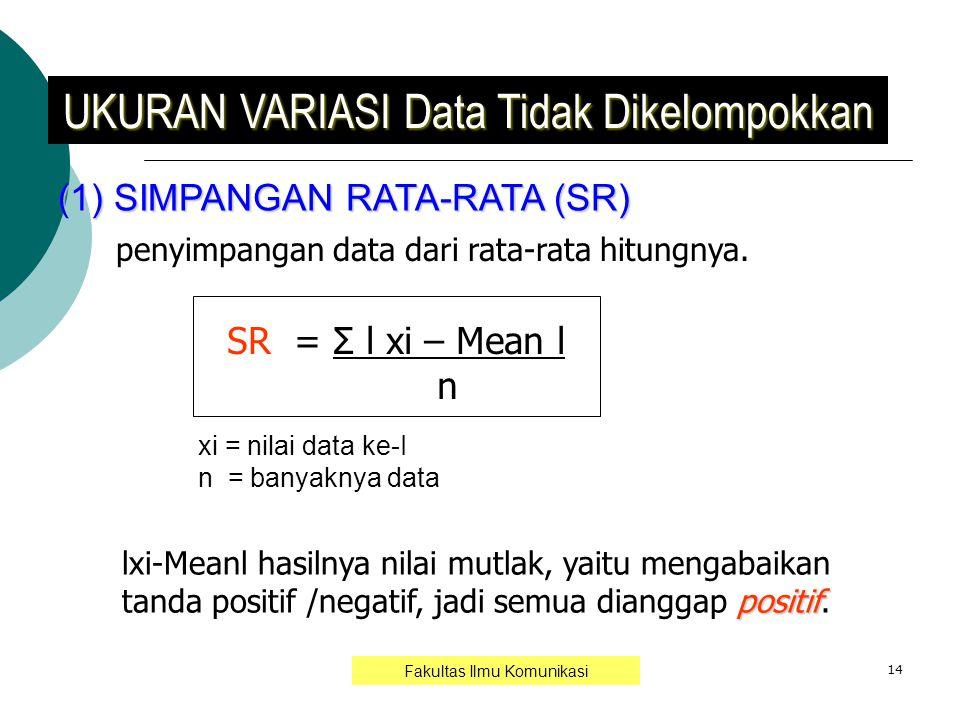 14 (1) SIMPANGAN RATA-RATA (SR) UKURAN VARIASI Data Tidak Dikelompokkan penyimpangan data dari rata-rata hitungnya. SR = Σ l xi – Mean l n positif lxi