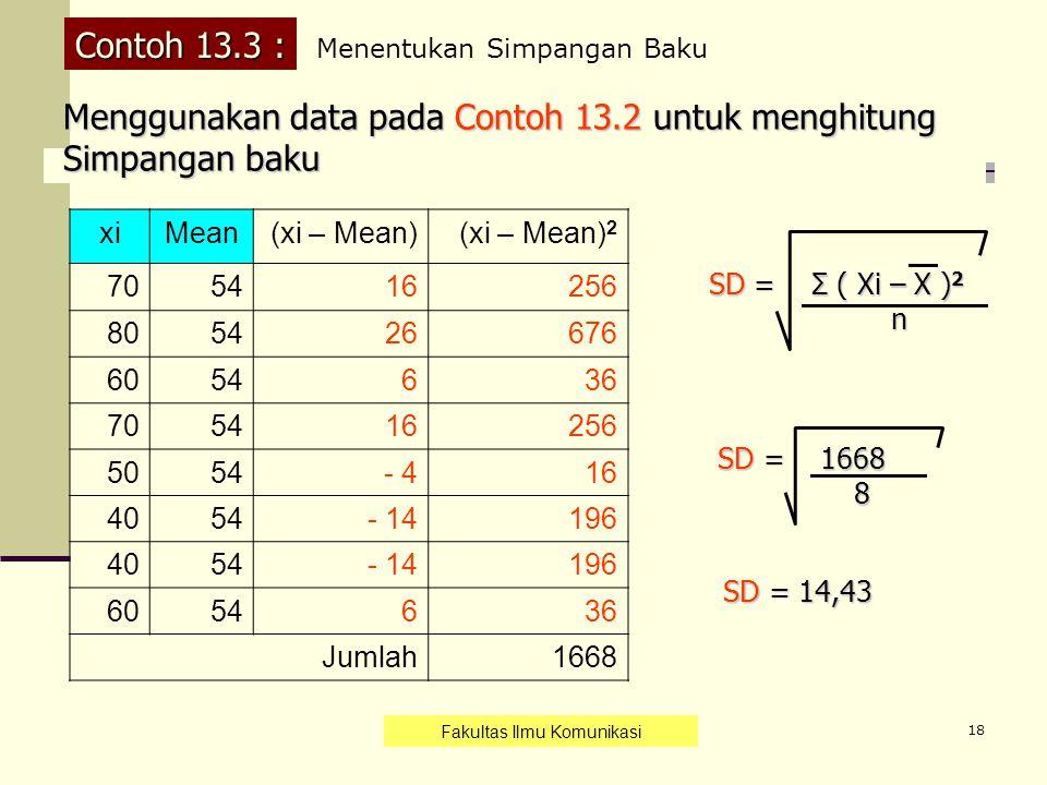 18 Contoh 13.3 : xiMean(xi – Mean)(xi – Mean) 2 705416256 805426676 6054636 705416256 5054- 416 4054 - 14196 4054- 14196 6054636 Jumlah1668 Menggunaka