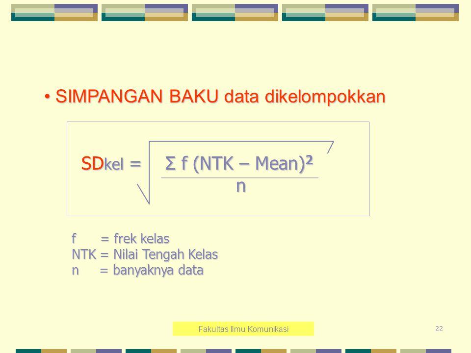 22 SIMPANGAN BAKU data dikelompokkan SIMPANGAN BAKU data dikelompokkan SD kel = Σ f (NTK – Mean) 2 SD kel = Σ f (NTK – Mean) 2 n f = frek kelas NTK =